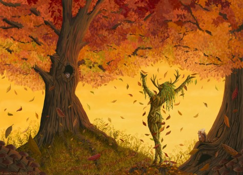1280x924_9121_The_Leaf_Charmer_2d_fantasy_autumn_leaves_foliage_fall_falling_leaf_woodland_dryad_spirit_tree_trunk
